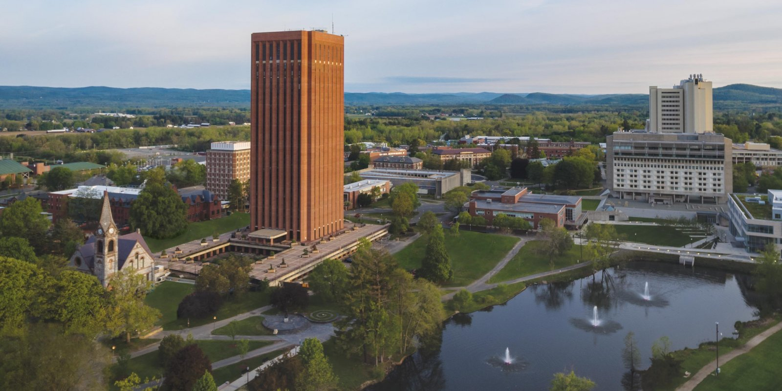 UMass Amherst campus aerial photo