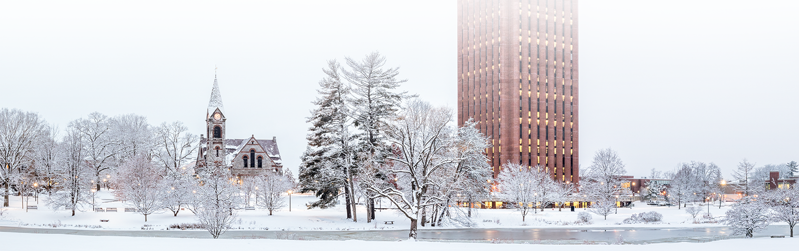 UMass campus covered in snow