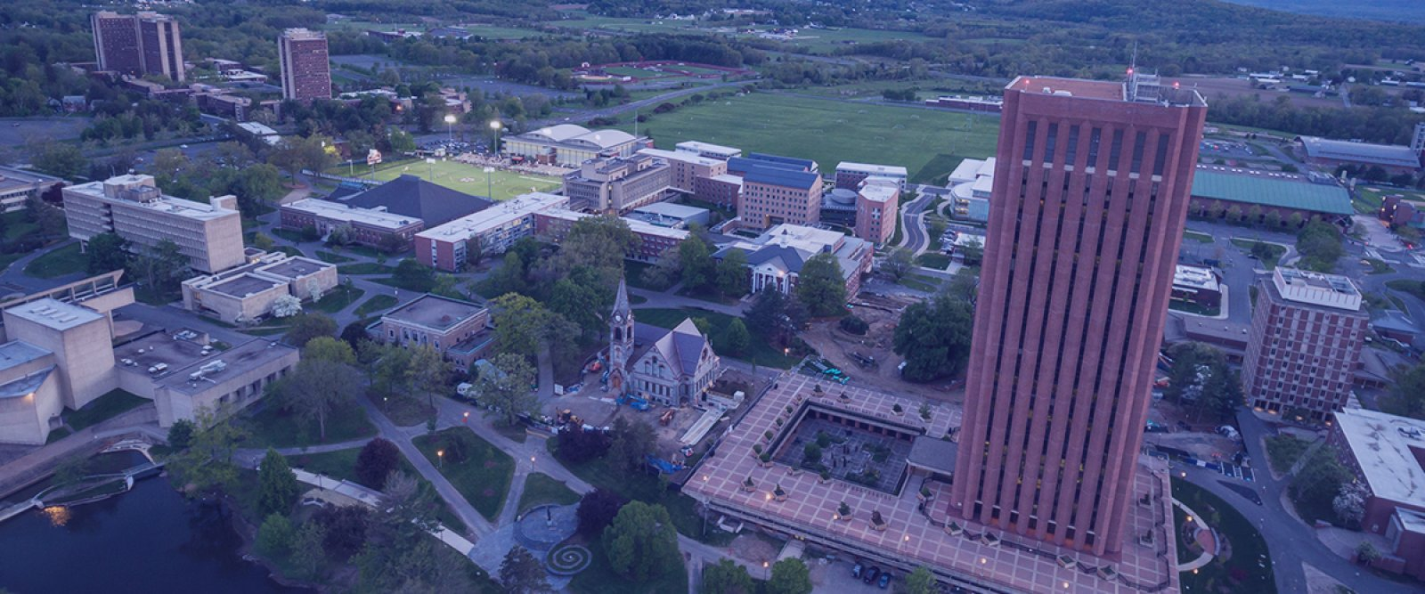 Aerial photo of UMass Amherst campus