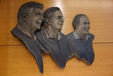 Robert '70, Richard '55 and William '55 Mahoney portrayed in the Integrated Sciences Building