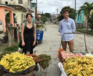 Pictured, CNS students Anna Amrich-Hankins and Adam Banks at a Cuban market
