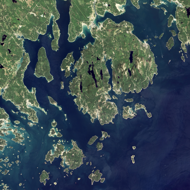 Aerial photo of Acadia National Park and the Gulf of Maine