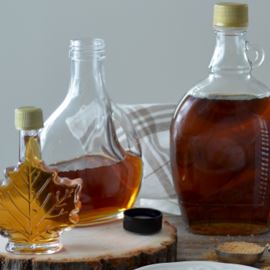 A variety of maple syrup bottles