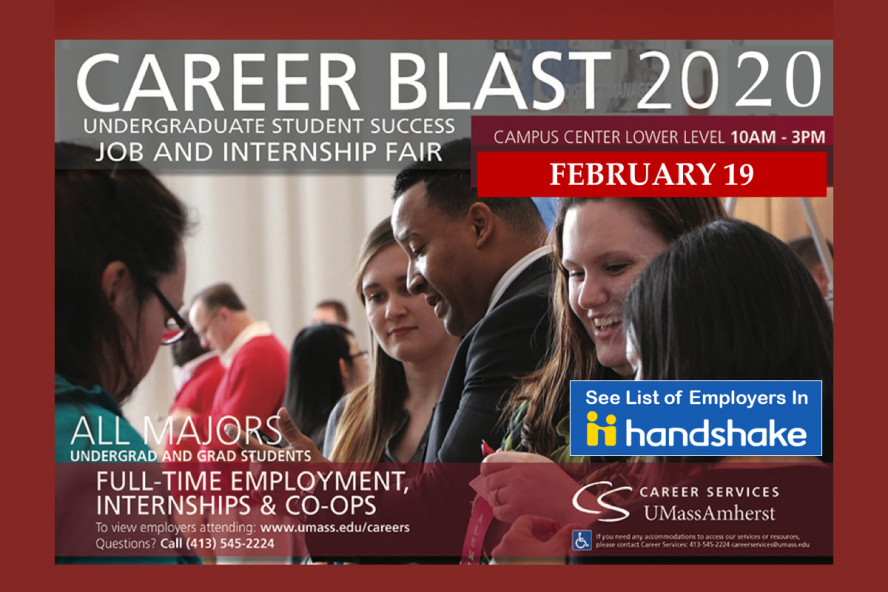 Career Blast Career Fair Feb 19, 10am-3pm, Campus Center Lower Level, All Majors