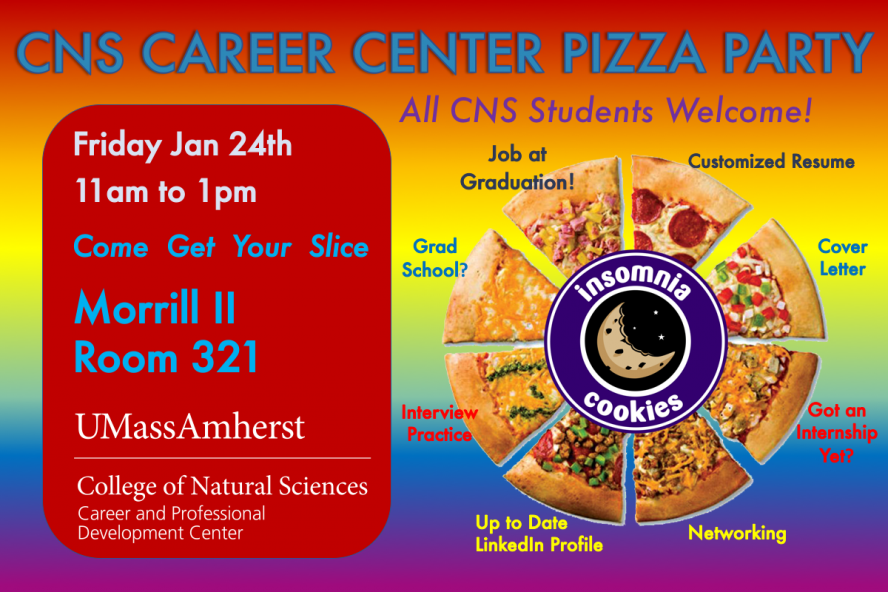 CNS Career Center Pizza Party Jan 24 from 11am to 1pm in Morrill II, Room 321