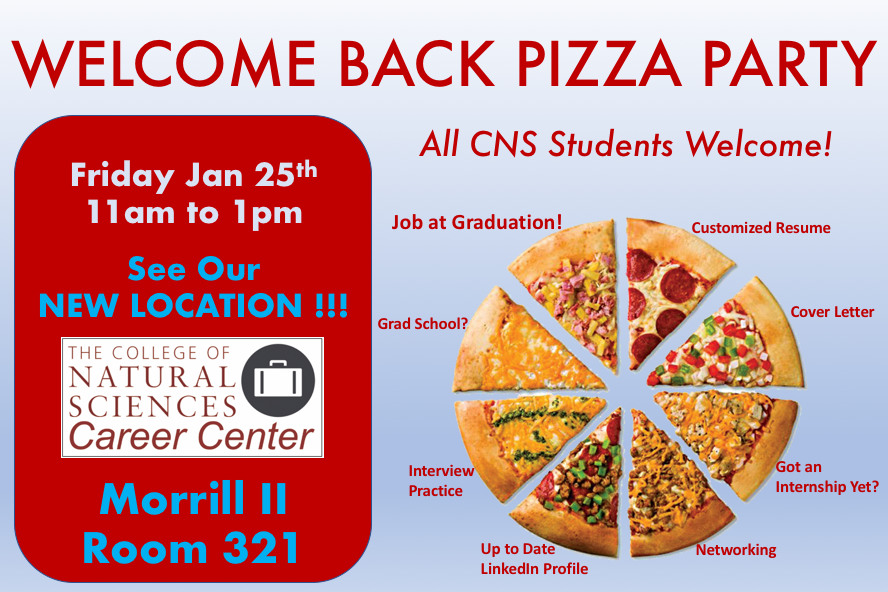 Welcome Back Pizza Party at CNS Career Center, Jan 25, 11am to 1pm, Morrill II, Room 321