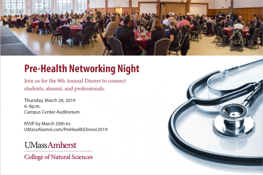 Pre-Health Sciences Networking Dinner, Thursday March 28, 6 to 8pm, Campus Center Auditorium, RSVP by March 20