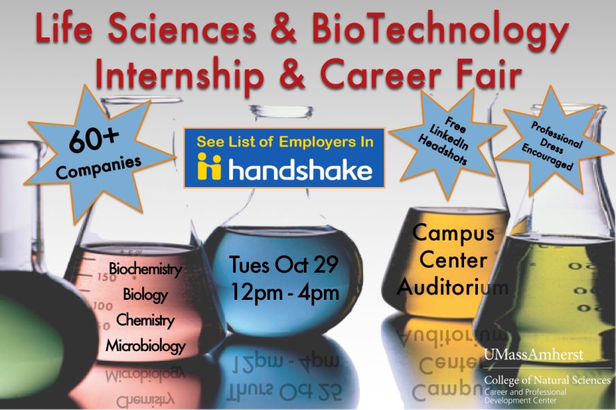 Life Sciences and Biotechnology Career Fair October 29 from Noon to 4pm in Campus Center Auditorium