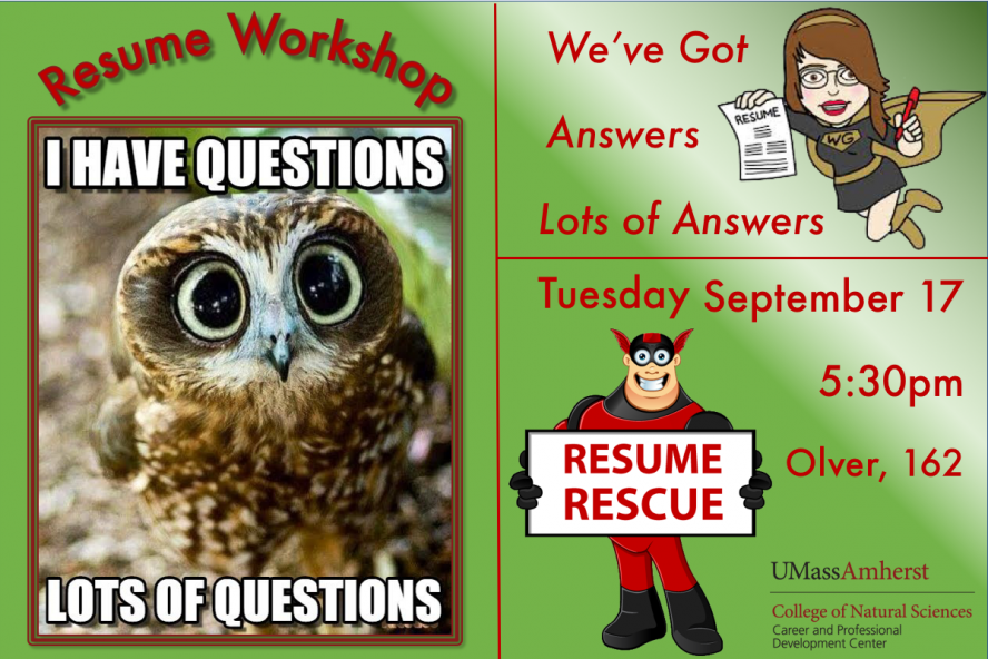 CNS Resume Writing Workshop Tuesday September 17 at 5:30pm in Olver 162