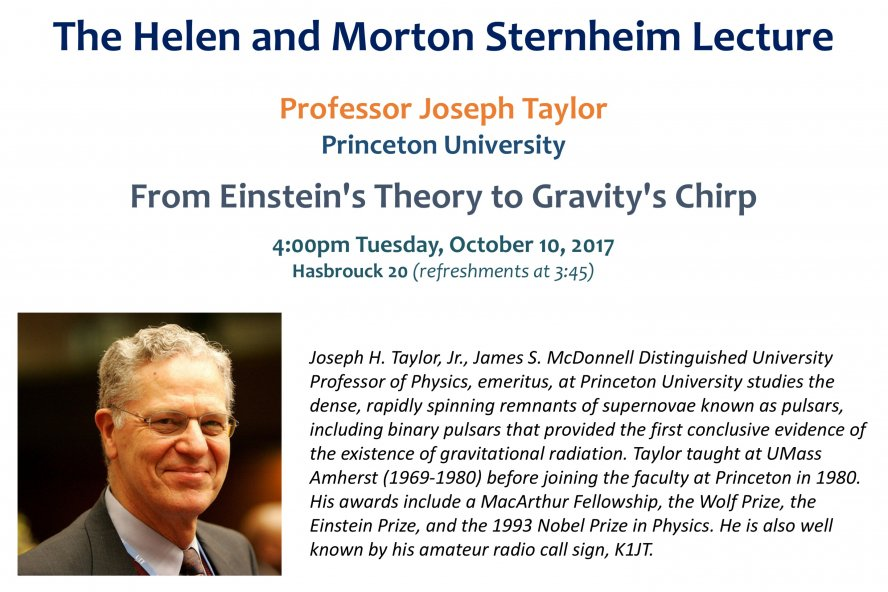 Sternheim Lecture by Joseph Taylor