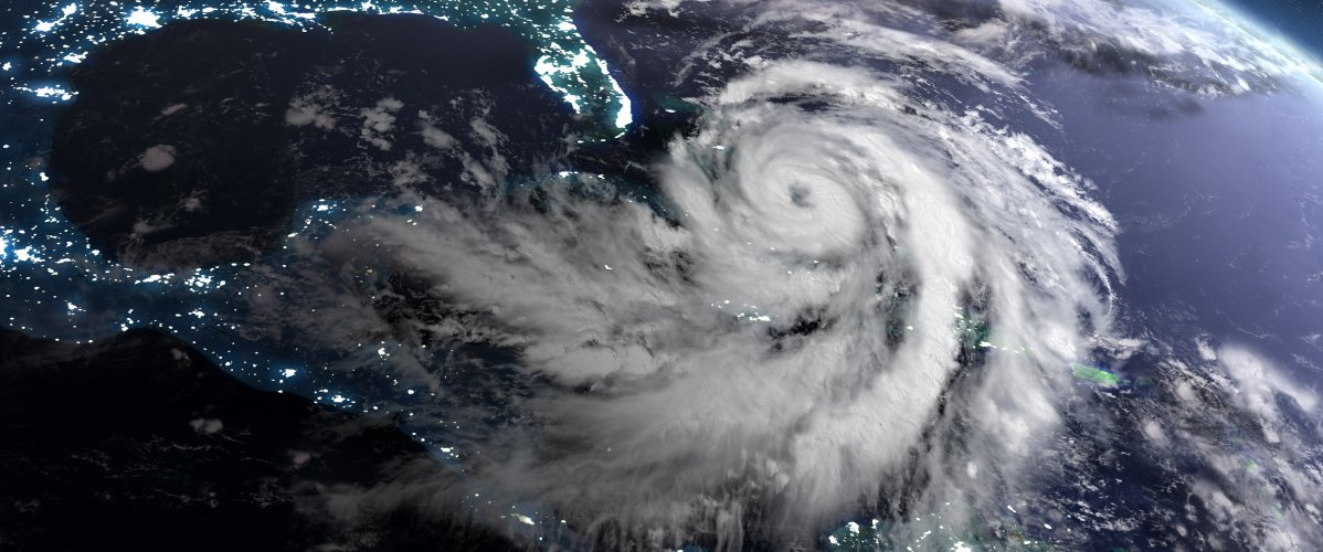 A hurricane at night as seen from space
