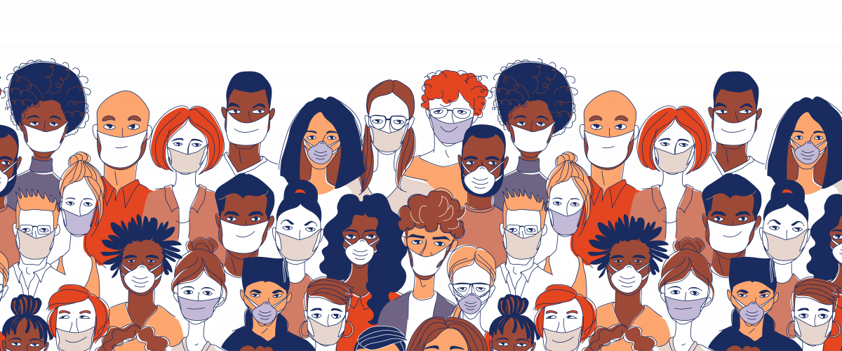 An illustration of a group of people all wearing masks