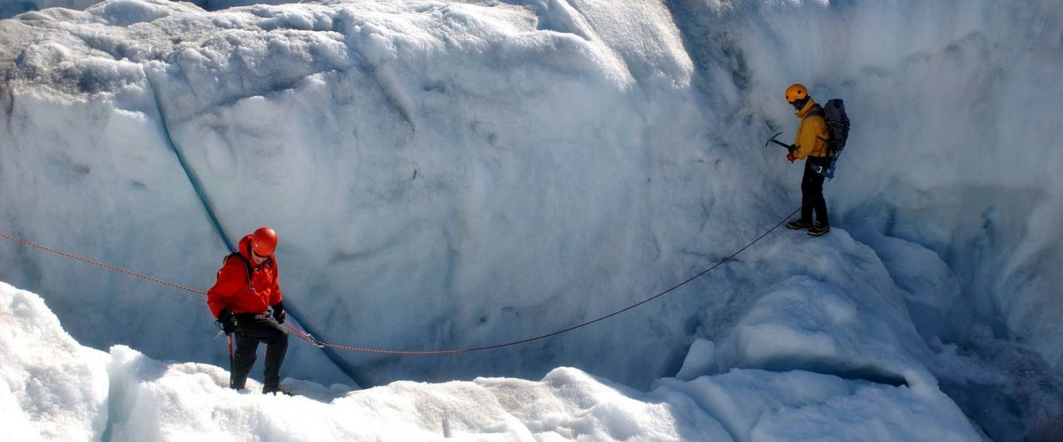 scientists on ice sheet