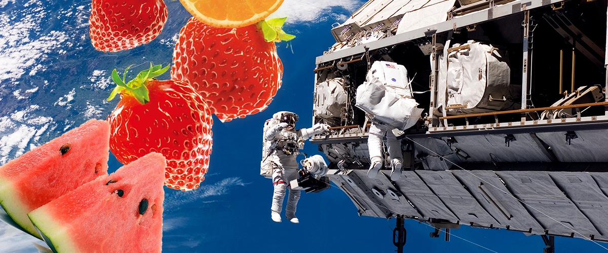 NASA astronauts spacewalking with bright colored fruit floating behind them