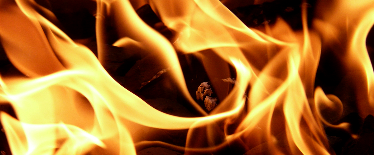 Flames in a fireplace