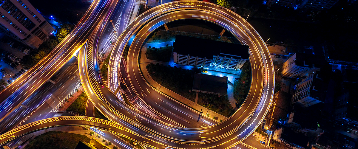 bird's eye view of intersecting highways at night
