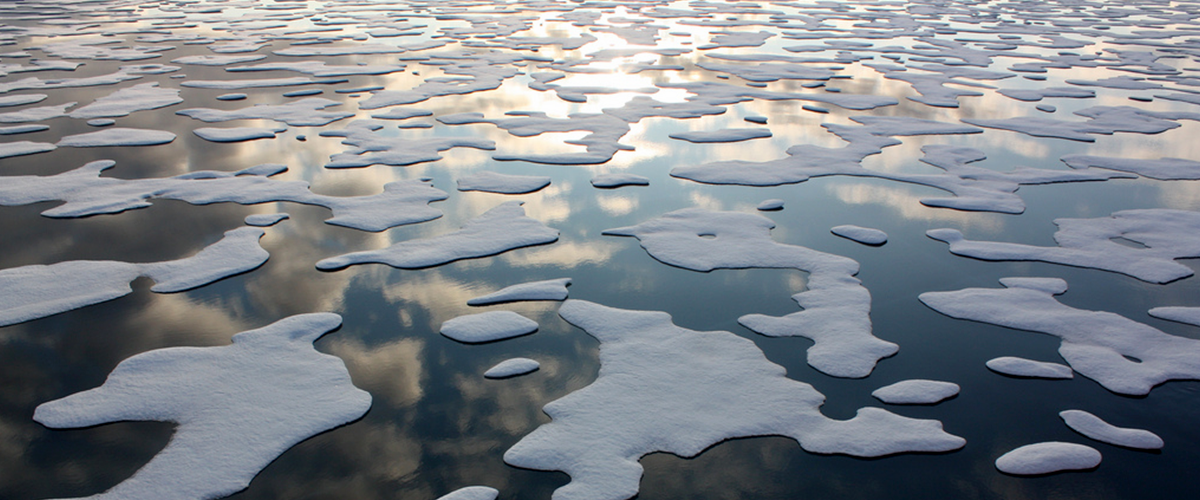 Patches of glacial ice