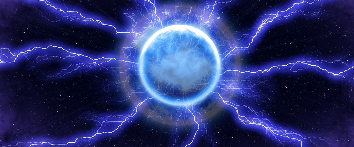 A glowing ball with lightning bolts shooting out