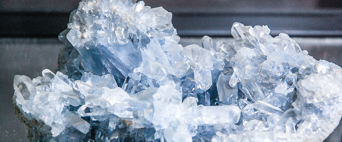 Celestite sample on display at Rausch Mineral Gallery