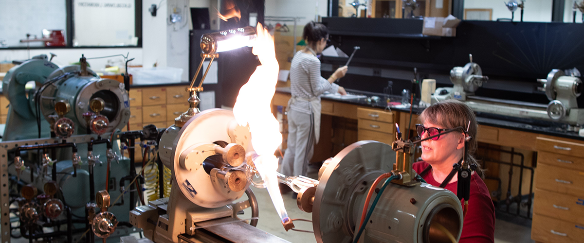 Sally Prasch at work in Glassblowing Laboratory