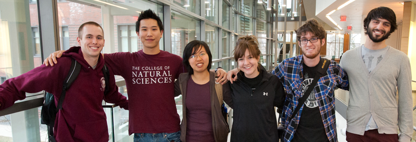 CNS students in the Integrated Sciences Building