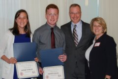 Photo of Phoebe Hannon and Andrew Keezer receiving award