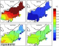 Figure showing predicted regional rise in temperatures for the Northeast over the next 30 years